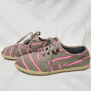 Toms NWOB Cordones Pink Washed Striped Rope Shoes